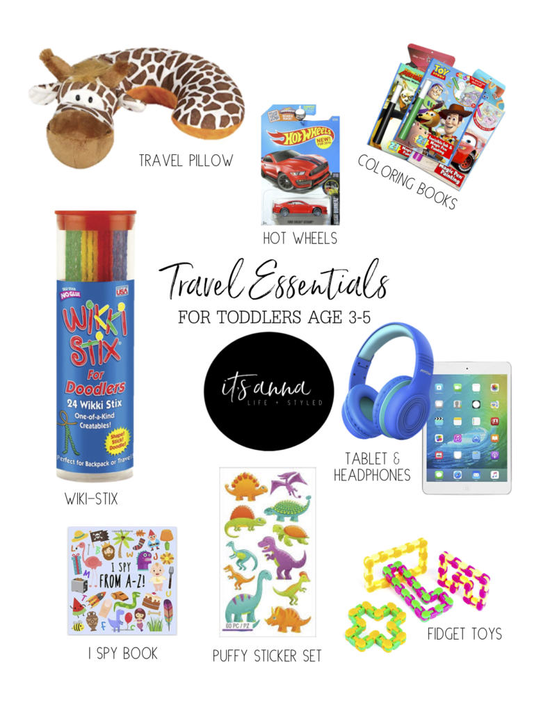 Items to pack in kids travel bags.