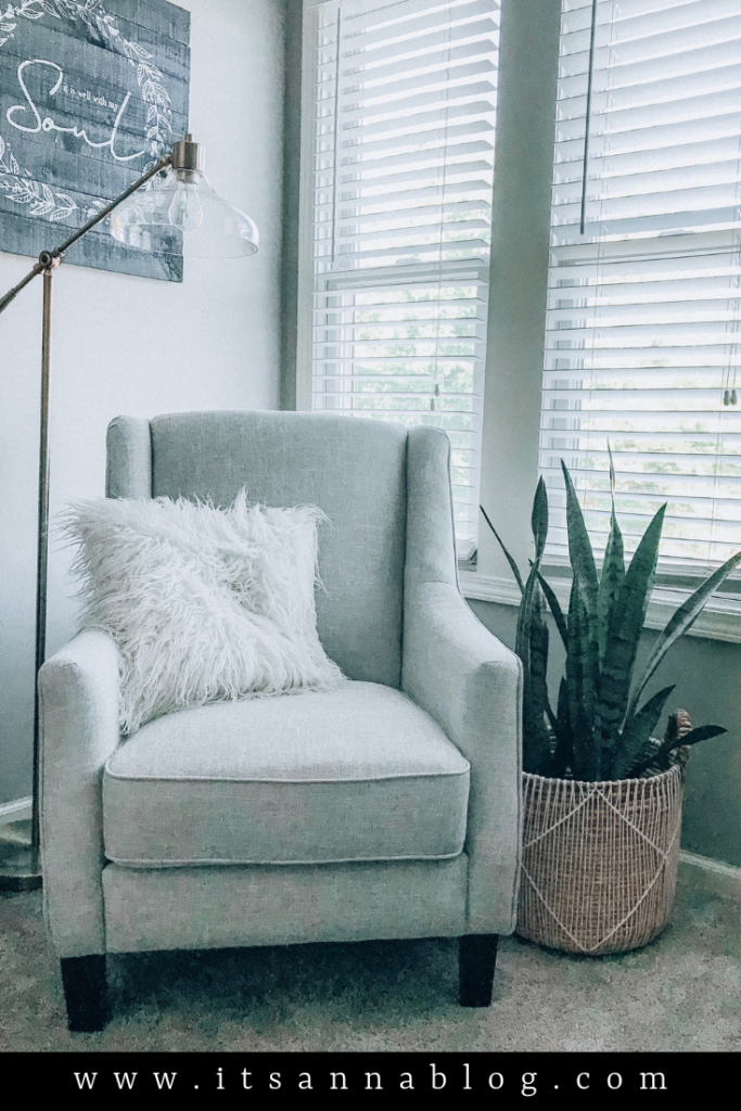 Gray chair and snake plant in corner of room with a lamp above it.